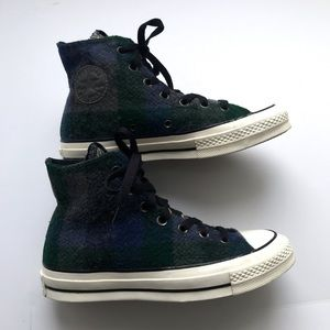 Converse X Woolrich Blue Green Plaid Wool shoes